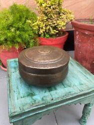 Antique Indian Round Handcrafted Brass Indian Chapatti/jewelry Storage Box