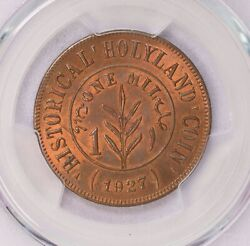 Pcgs-ms62rb 1927 Palestine Holy Mil Much Red Tn1