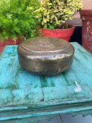Rare Antique Indian Round Chapatti Box Jewelry And Trinket Box With Engraved Lid