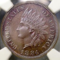 1884/1_84 Indian Head Cent/penny Unique Unclassified Rpd Finest Known Ngc Ms 66