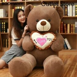 I Love You Teddy Bear Large Stuffed Plush Toy Holding Love Gift Valentine Day