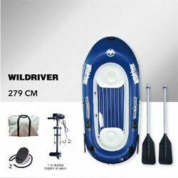 Inflatable Kayak Boat With Motor 2-3 Person Fishing Dinghy Rafting Marine Boat