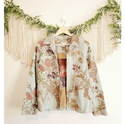 Coldwater Creek Medium Colorful Floral Long Sleeve Collared Jacket Multicolor