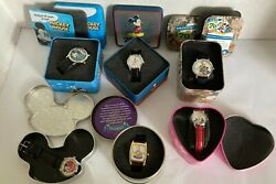 6 Mickey Mouse Disney Watches Vintage With Collectible Tins 5 Are New