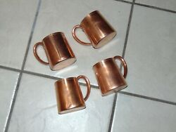 Set Of 4 Vintage West Bend Solid Copper Beer Mugs Moscow Mule Rounded Handle Usa