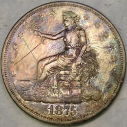 1875 Cc Trade Silver Dollar Beautiful Toning Bold Feathers Hair Motto X In Field