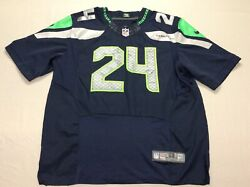 Authentic Seattle Seahawks Marshawn Lynch Stitched Nike Blue Jersey Mens Size 56