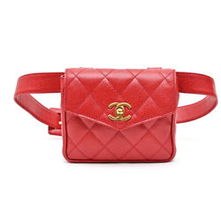 Caviar Skin Matrasse Waist Bag Pouch 2nd Leather Red P1227