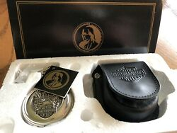 Franklin Mint Harley Davidson Pocket Watch With Box, Chain, And Pouch.