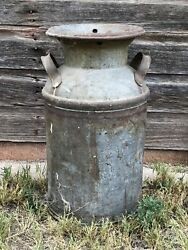 Vintage Milk Can, Cream Primitive, On Handle 30' Tall Rusty Authentic