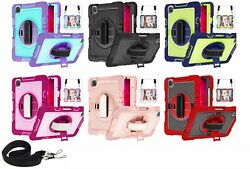 10pcs/lot Neck Strap 360° Rotating W Stand 3 Layer Hybrid Case For Ipad Samsung