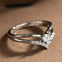 Gorgeous 925 Silver Plated V-shape White Sapphire Ring For Women Wedding Jewelry