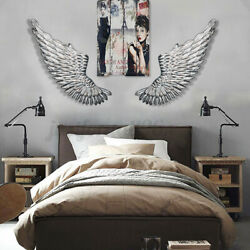 40and039and039 Large Antique Silver Angel Wings Iron Wall Mounted Hanging Hanging Art