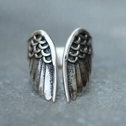 Vintage Silver Menand039s Punk Ring Angle Wings Open Ring Cool Party Band Jewelry
