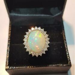 14k Blanc Solide Or Naturel Aaa Qualitandeacute Forme Ovale Cabochon Opale Gemstone Ring