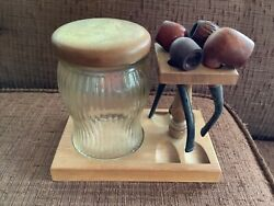 Vintage Walnut Wood Wooden Pipe Stand Glass Humidor Jar Pipes