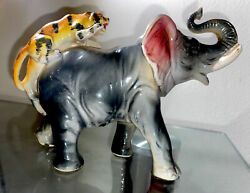 Vintage Ceramic Elephant With Attacking Tiger On Its Back Figurine