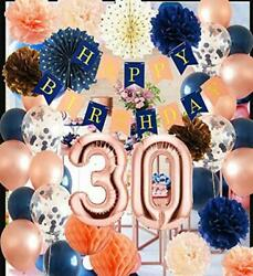 30th Birthday Decorations For Women Navy Rose Gold Champagne Peach Birthday
