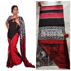 Beautifull Designer Handblock Printed Cotton Saree For Women And Girl With Blouse