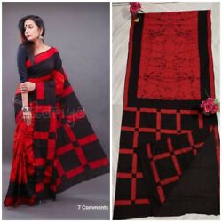 Beautifull Designer Handmade Printed Cotton Saree For Women And Girl With Blouse