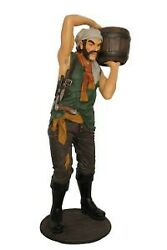 77 Tall Pirate Carrying Whiskey Barrel Resin Statue Halloween Prop Display