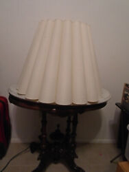 Lamp Shade Natural Fabric White Pleated Large 18 H X 24 Bottom X 13 Top