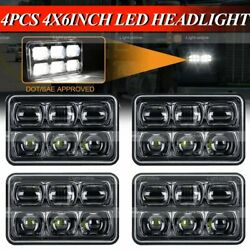 4x 4x6 120w Dot Approved Led Headlights Drl For Peterbilt Kenworth Freightliner