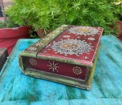 Antique Wooden Handcrafted Book Style Jewelry Box With Indian Folk Art On Lid