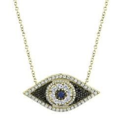 Diamond Sapphire All Seeing Eye 14k Yellow Gold Natural Black And White Round Cut