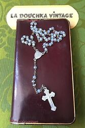 French 1900s Masses And Vespers Leather Booklet Rosary And Glass Beads Dated 1901