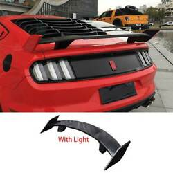 Primer Black Rear Trunk Spoiler Wing Flap With Light For Ford Mustang 2015-2021
