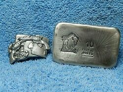 Hand Poured Bison Bullion 2 And 10 Troy Ounce .999 Fine Silver Bars