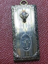 """F.m Co. Antique Sterling Silver Money Or Stamp Holder - """"hello Bill"""""""