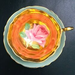 Super Rare Paragon Floating Pink Cabbage Rose On Gray Teacup And Saucer
