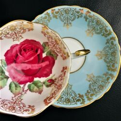 Paragon Floating Large Red Cabbage Rose On Gold Gilding Blue Teacup And Saucer