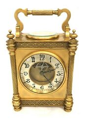 Antique French Diette Hour Gilt Carriage Mantel Clock With Thermometer And Compass