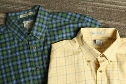 L.l. Bean Menand039s Lot Of 2 Green And Yellow Wrinkle Resistant L/s Shirts Lt Tall L