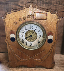 1900andrsquos Gilbert 8 Day Mantle Clock Gambling Dice Cards Poker Chips Running