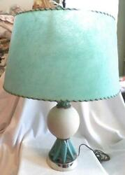 Mid Century Modern Table Lamp Turquoise And White Fiberglass Shade Large Vintage