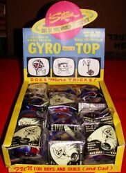 Vintage 1950's Gyro Scope Top Store Counter Display Of 12 Gyroscope Mint Stock