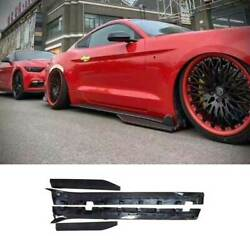 Gt500 Dry Carbon Fiber Exterior Door Panel Side Skirts For Ford Mustang 2015-21