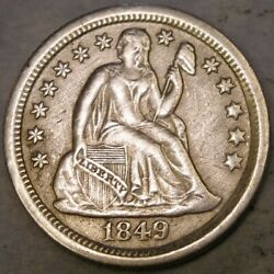 1849 O Liberty Seated Silver Dime Very Appealing Drapery Hair Wreath Scarce Date
