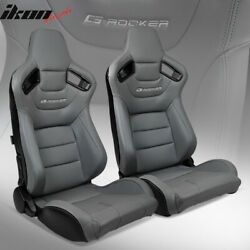 Universal Pair Reclinable Racing Seats Dual Sliders Grey Puandcarbon Leather Back