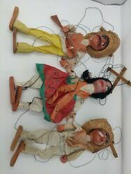 Vintage 1960's 3 Handmade 15 Mexican Marionette Bandito String Puppets