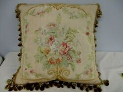 Vintage Silk Tapestry Down Filled Throw Pillow With Tassel Edge 20 Square