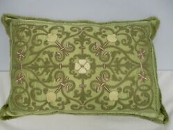 Vintage Green Embroidered Silk Down Filled Throw Pillow With Fringe 23 X 15