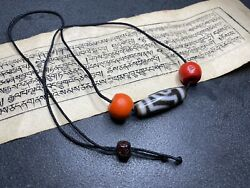 Antique Tibetan Two Eyes Dzi And Sherpa Red Beads 12×37mm
