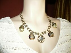 Rare Vintage Signed Adele Simpson Chunky Charm Necklace Couture Amethyst Pearls