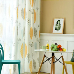Yellow Blue Leaf Curtains For Living Room Childrenand039s Room Linen Printing Curtain