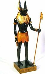 Egyptian Anubis Dog Standing Figurine 11.88 Inch Gold And Black Color Figurines